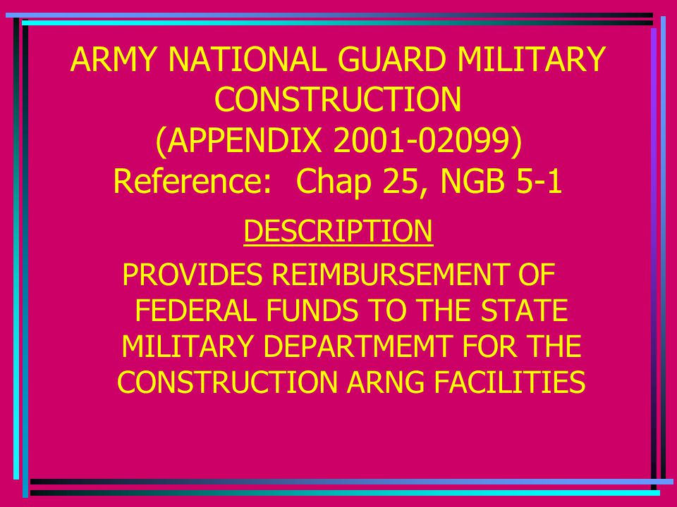 ARMY NATIONAL GUARD MILITARY CONSTRUCTION (APPENDIX 2001-02099) Reference: Chap 25, NGB 5-1