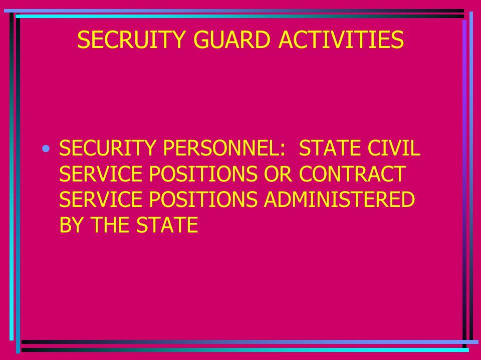 SECRUITY GUARD ACTIVITIES