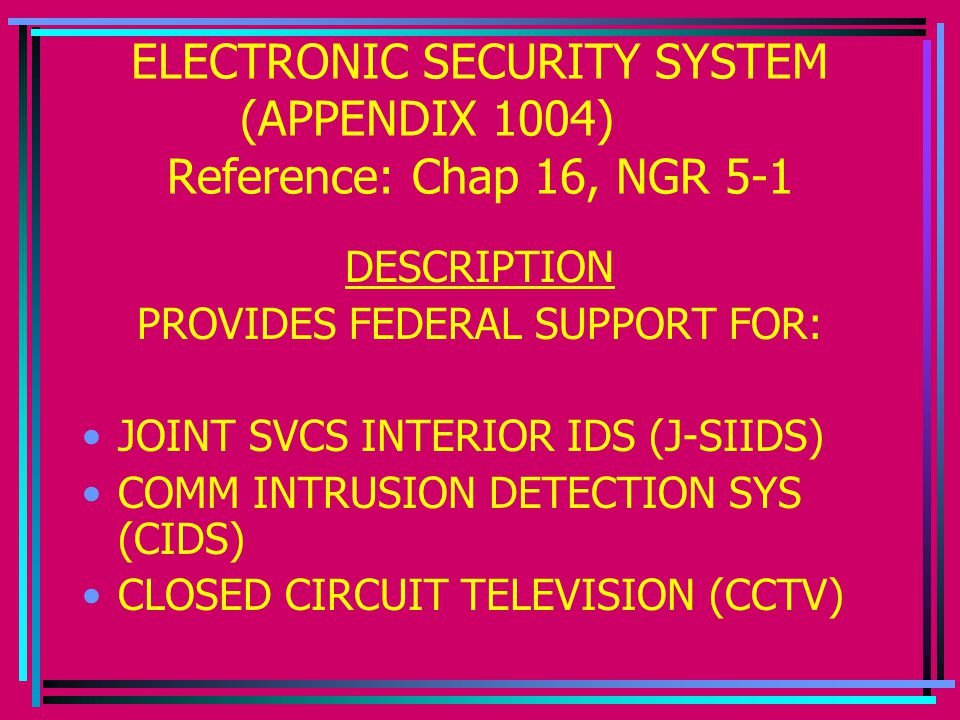 ELECTRONIC SECURITY SYSTEM (APPENDIX 1004) Reference: Chap 16, NGR 5-1