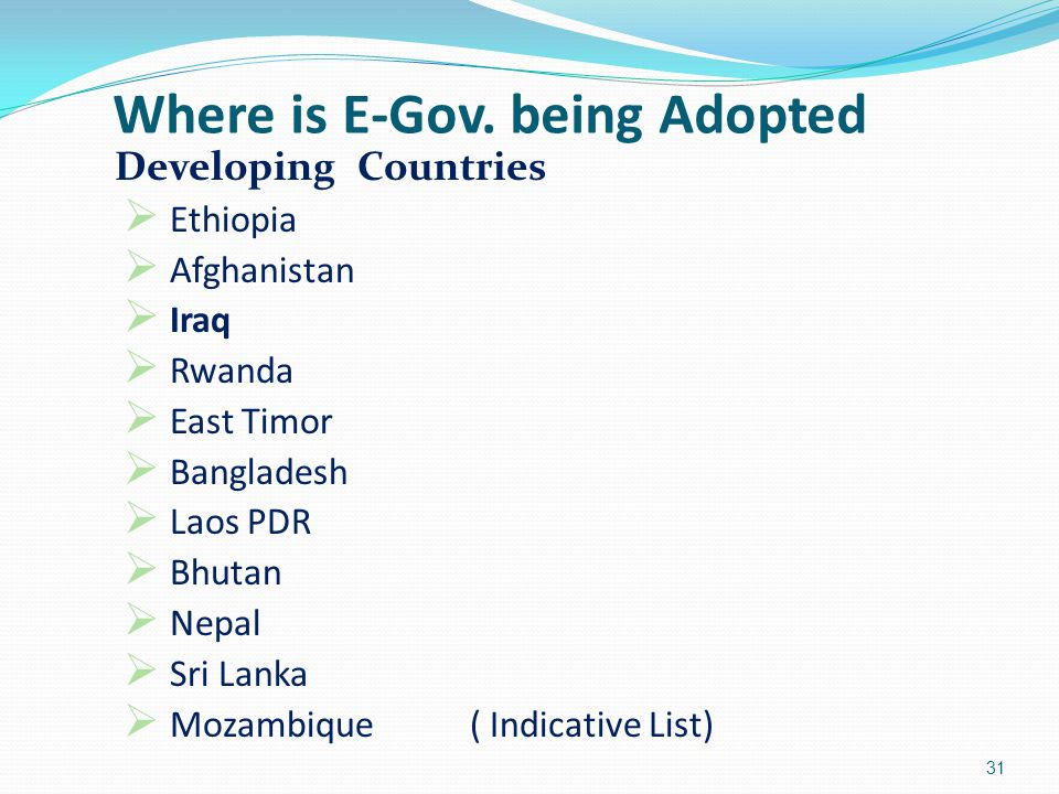Where is E-Gov. being Adopted