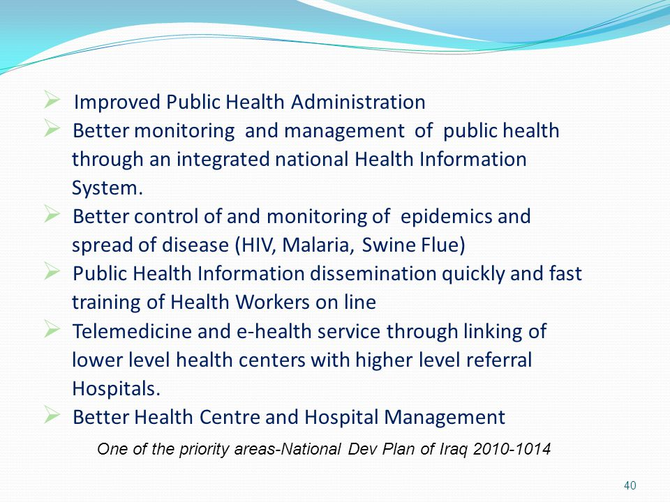 Improved Public Health Administration