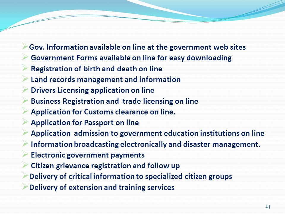 Gov. Information available on line at the government web sites
