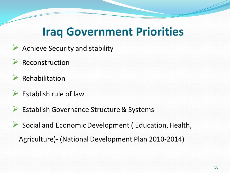 Iraq Government Priorities