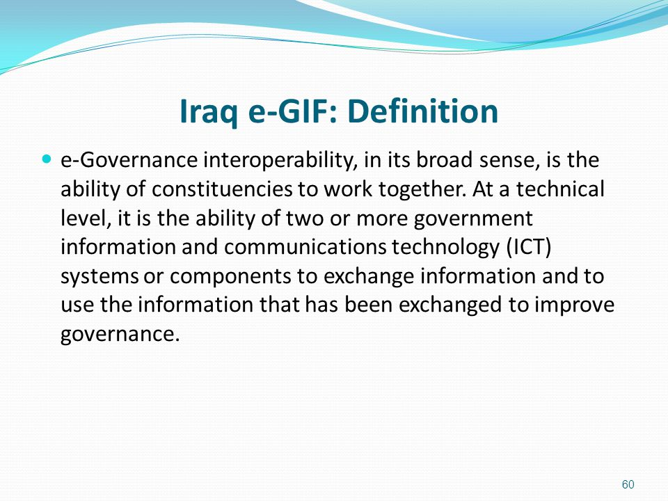 Iraq e-GIF: Definition