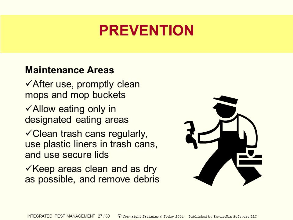 PREVENTION Maintenance Areas
