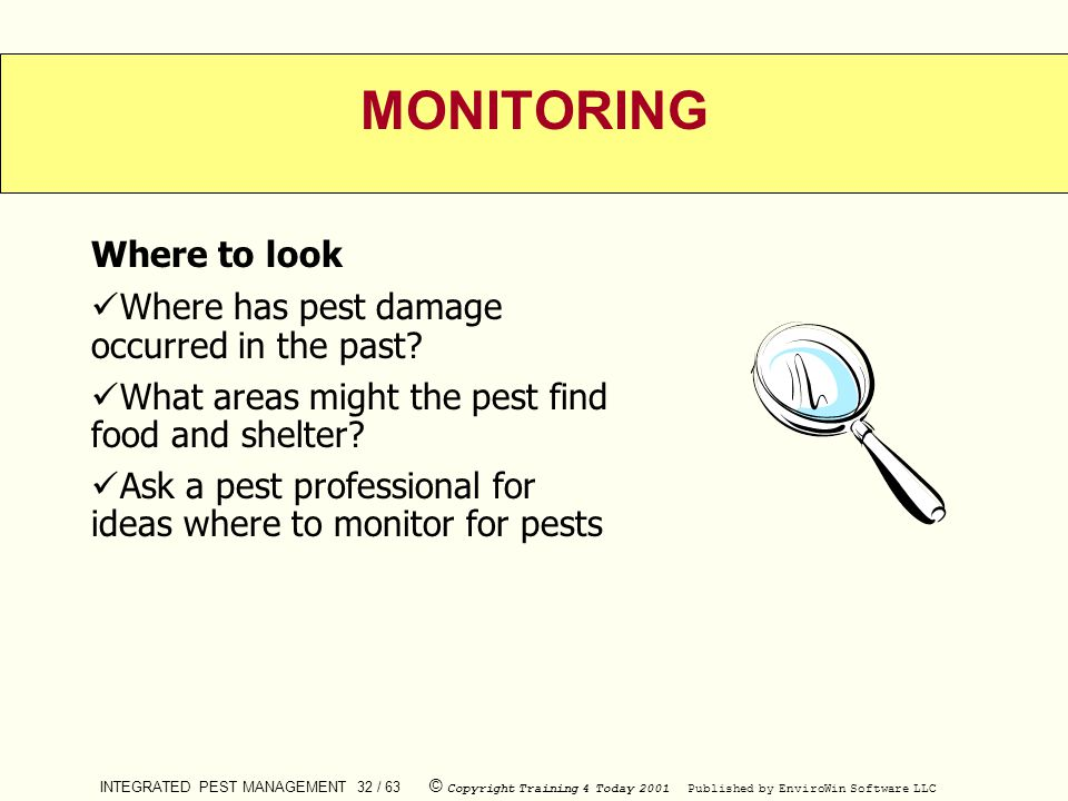 MONITORING Where to look Where has pest damage occurred in the past