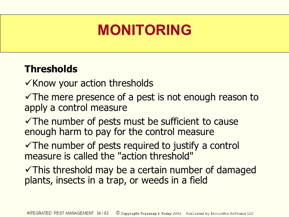 MONITORING Thresholds Know your action thresholds
