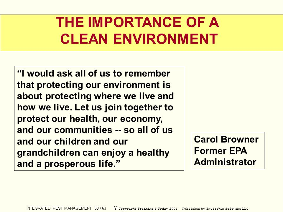 THE IMPORTANCE OF A CLEAN ENVIRONMENT