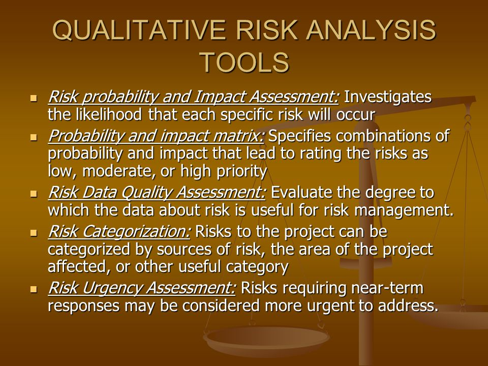 QUALITATIVE RISK ANALYSIS TOOLS