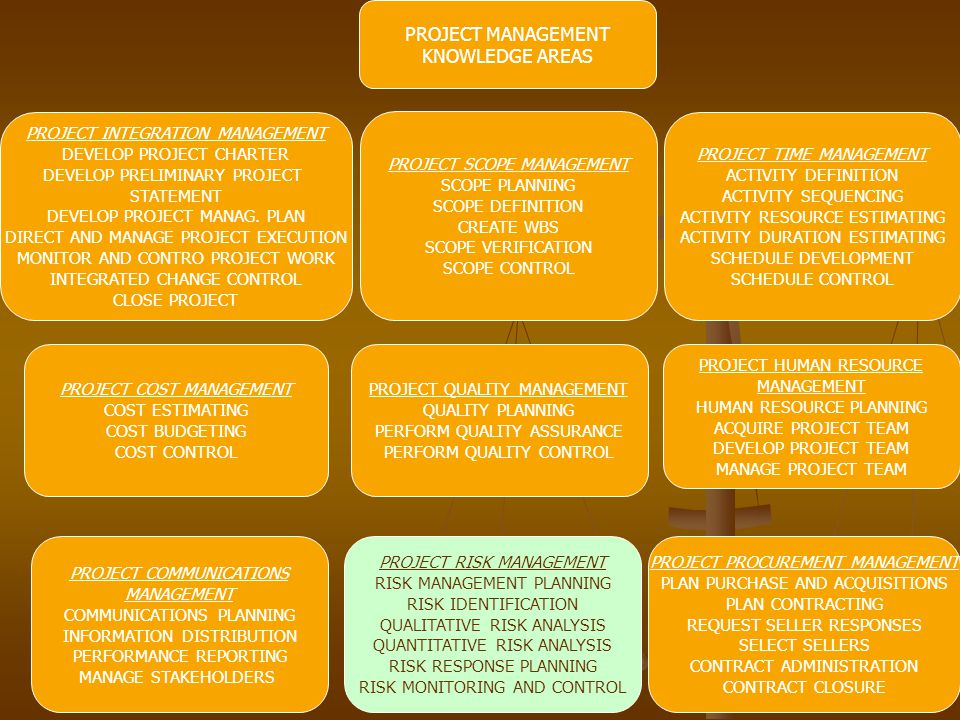 PROJECT MANAGEMENT KNOWLEDGE AREAS PROJECT INTEGRATION MANAGEMENT