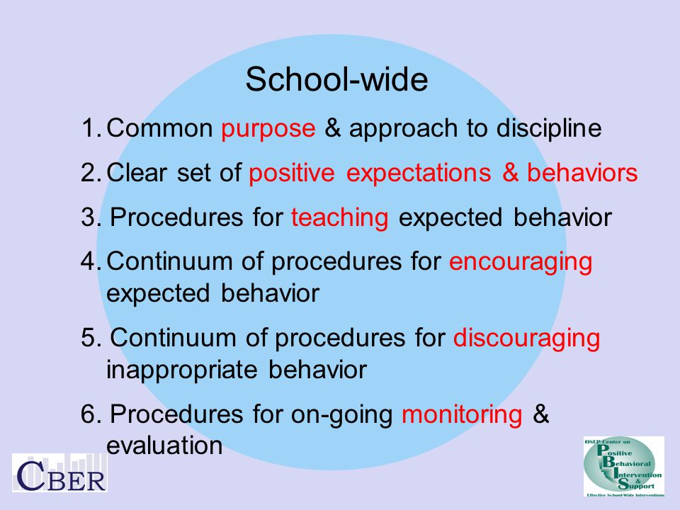 School-wide 1. Common purpose & approach to discipline