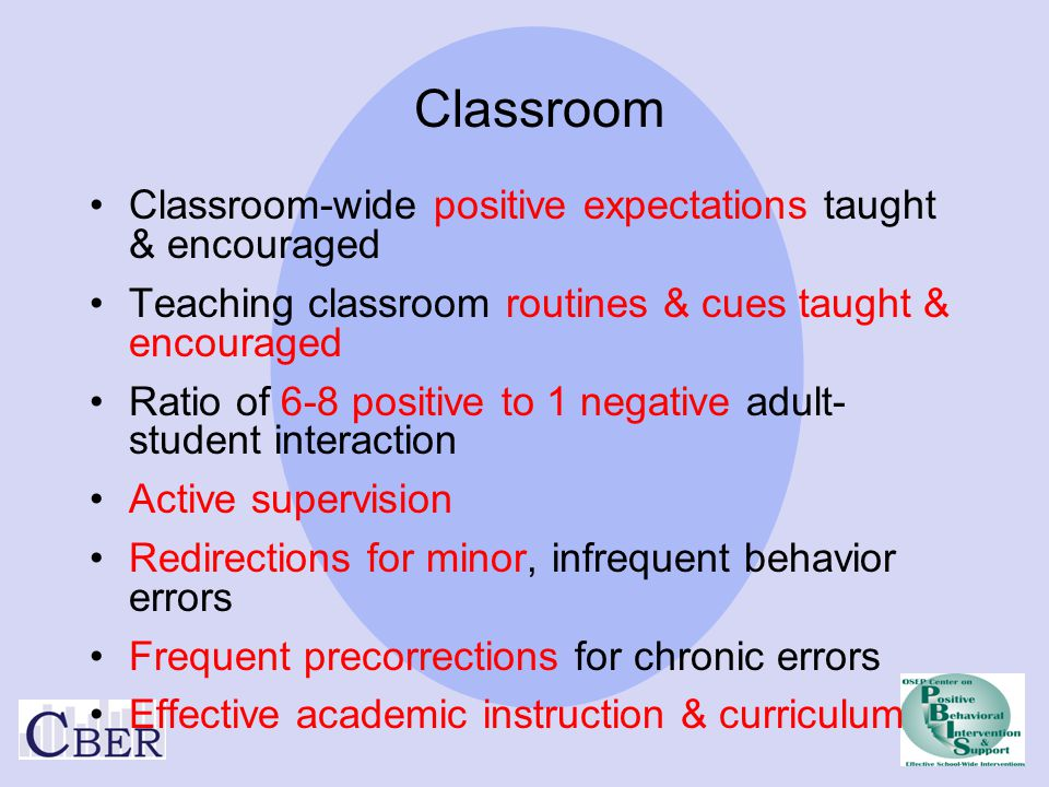 Classroom Classroom-wide positive expectations taught & encouraged