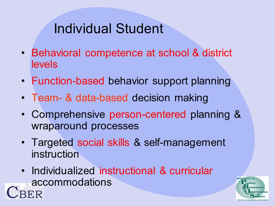 Individual Student Behavioral competence at school & district levels
