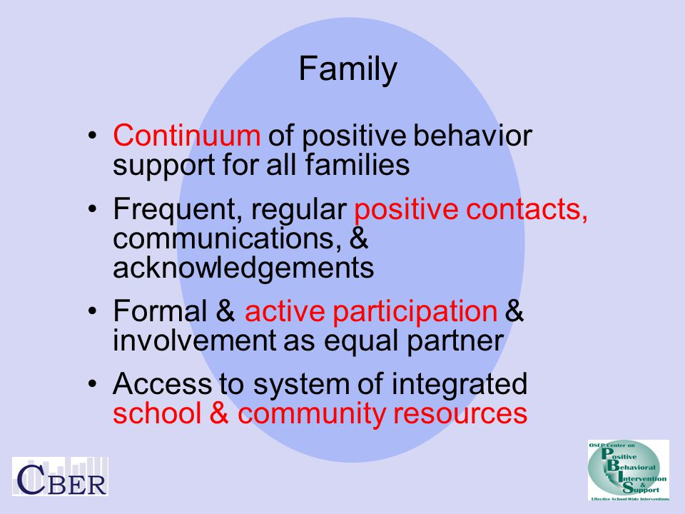 Family Continuum of positive behavior support for all families