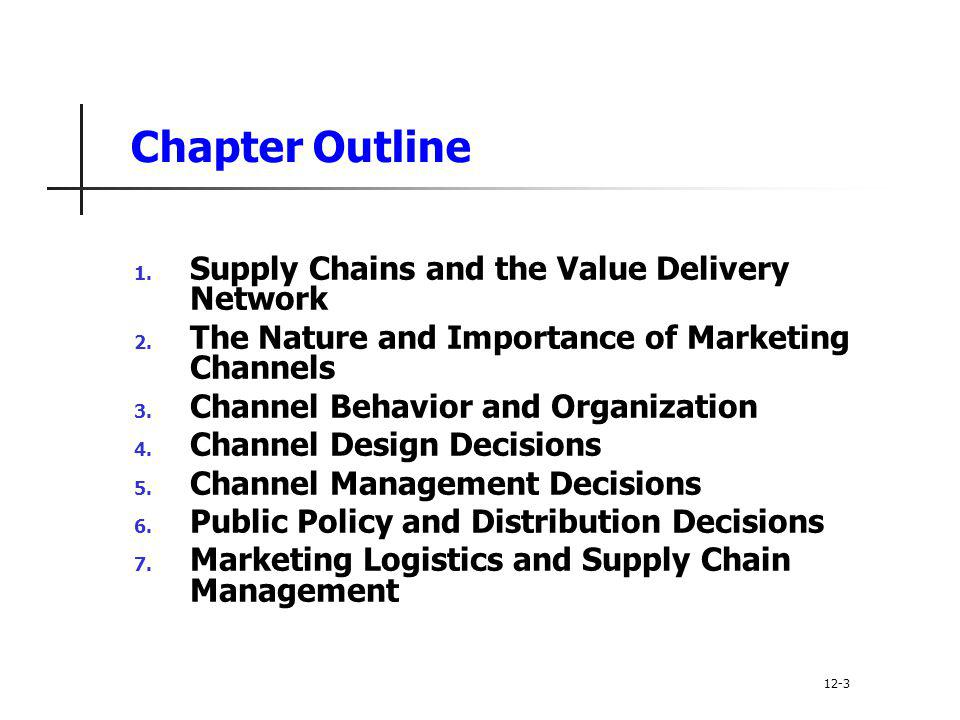 Chapter Outline Supply Chains and the Value Delivery Network