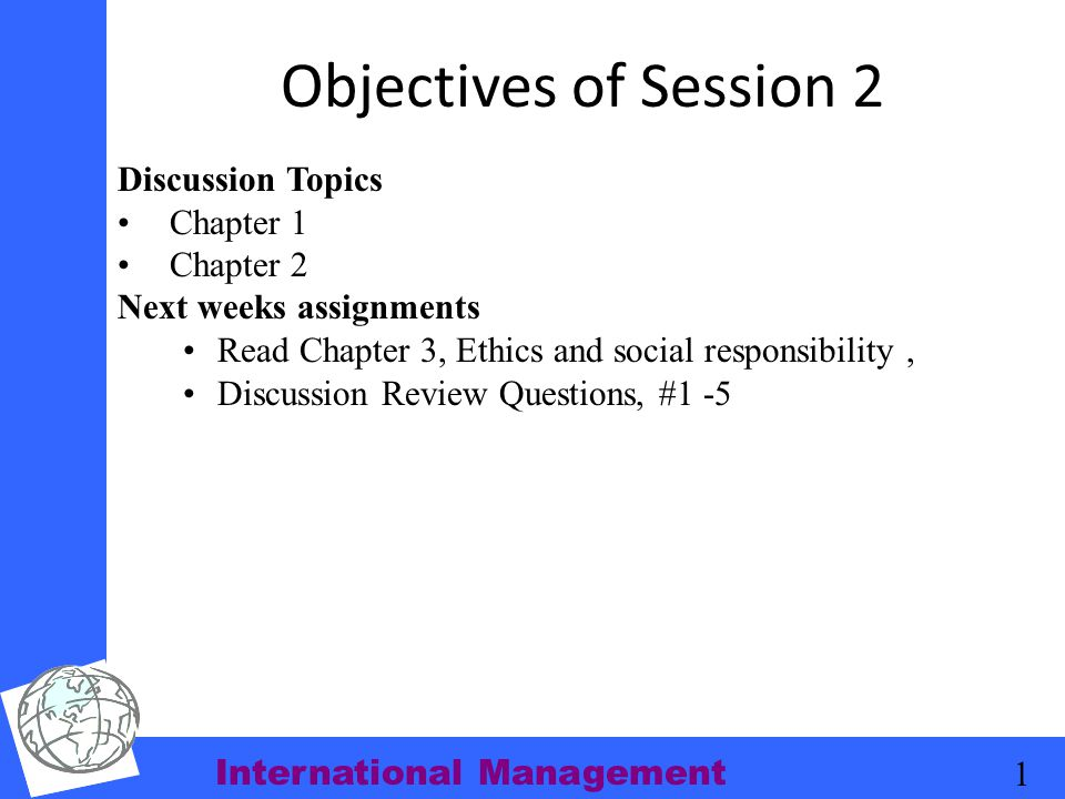 Objectives of Session 2 Discussion Topics Chapter 1 Chapter 2
