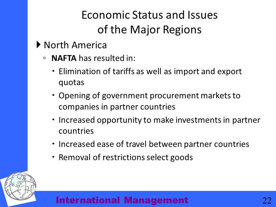 Economic Status and Issues of the Major Regions