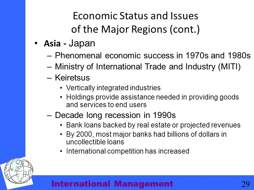 Economic Status and Issues of the Major Regions (cont.)