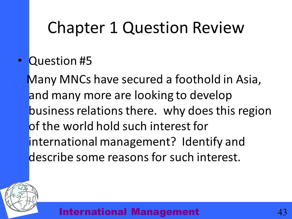Chapter 1 Question Review