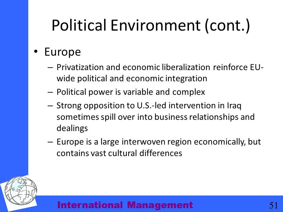Political Environment (cont.)