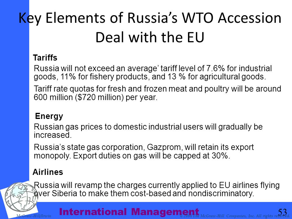 Key Elements of Russia's WTO Accession Deal with the EU