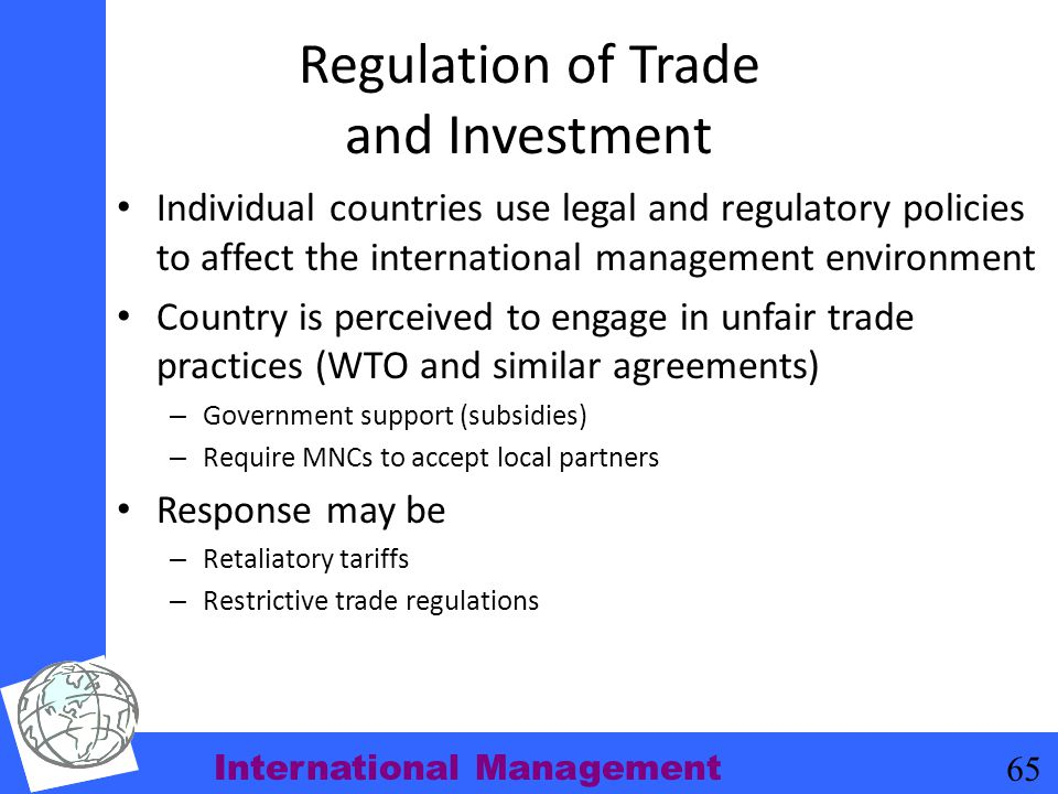 Regulation of Trade and Investment