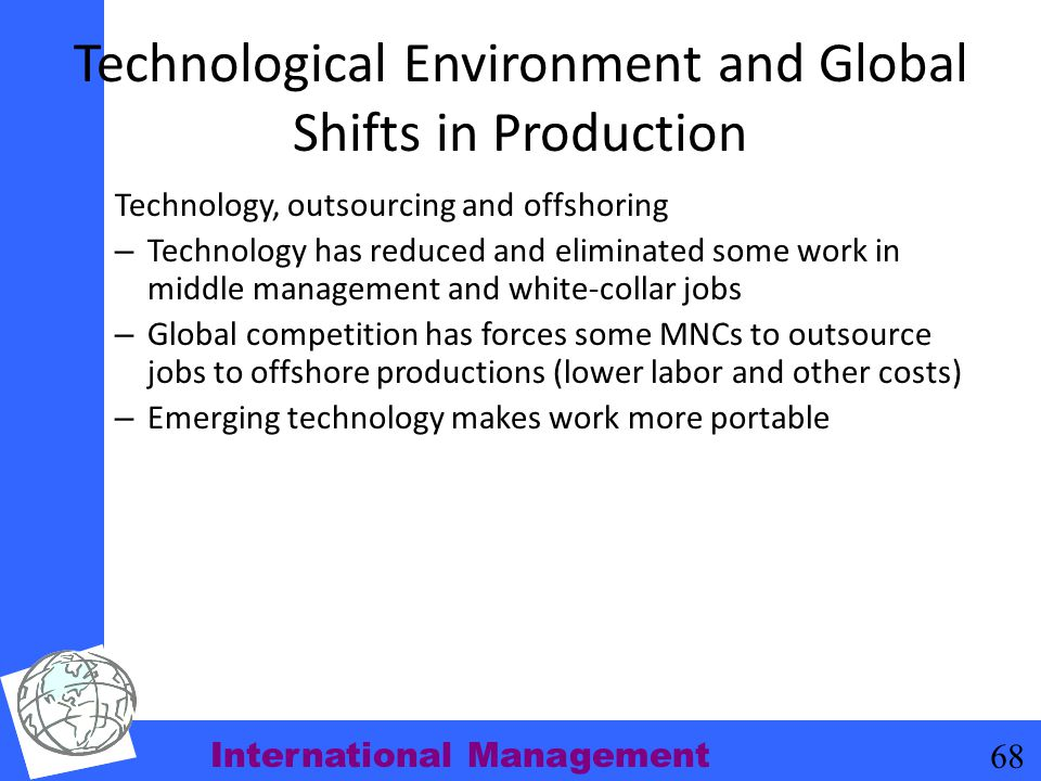 Technological Environment and Global Shifts in Production