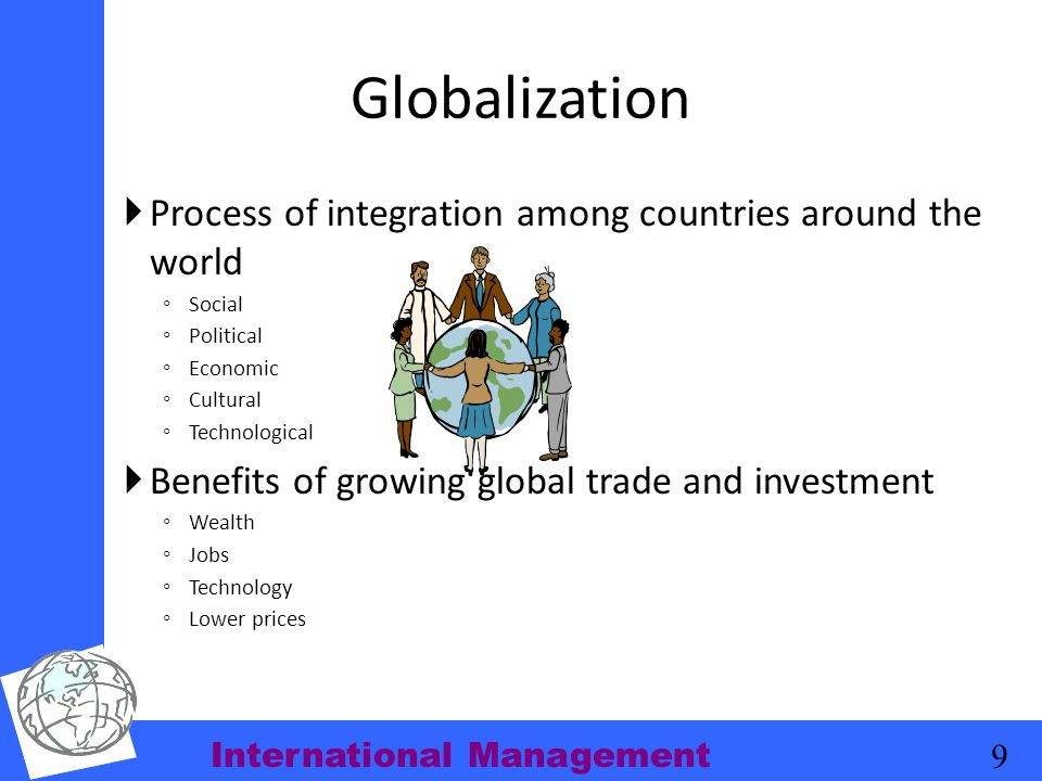 Globalization Process of integration among countries around the world