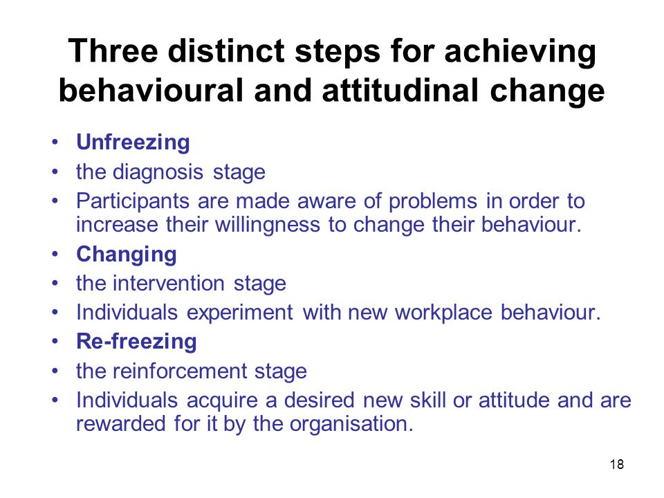 Three distinct steps for achieving behavioural and attitudinal change