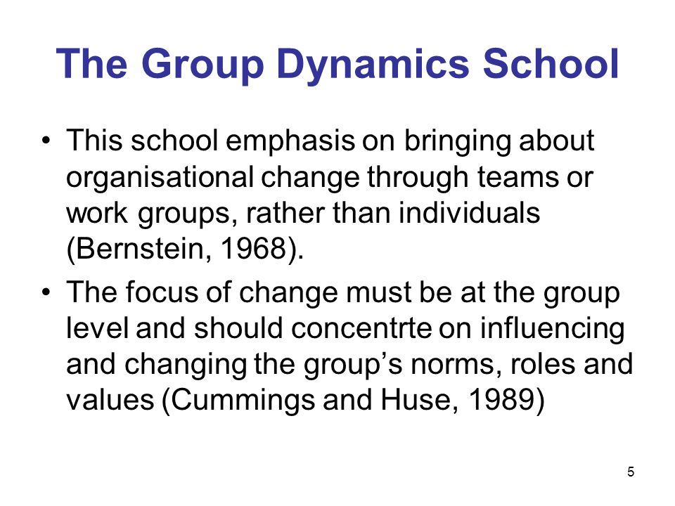The Group Dynamics School