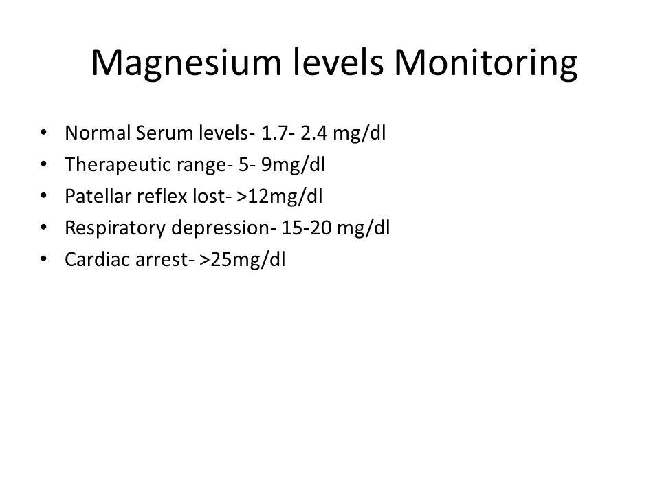 Magnesium levels Monitoring