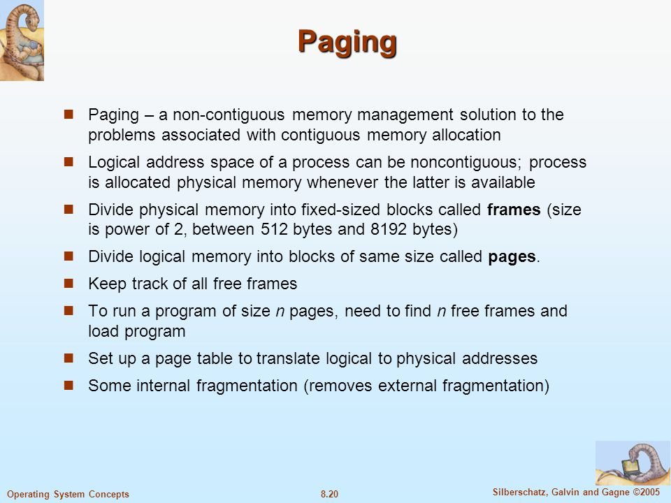 Paging Paging – a non-contiguous memory management solution to the problems associated with contiguous memory allocation.