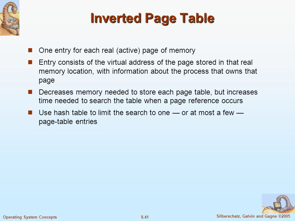 Inverted Page Table One entry for each real (active) page of memory