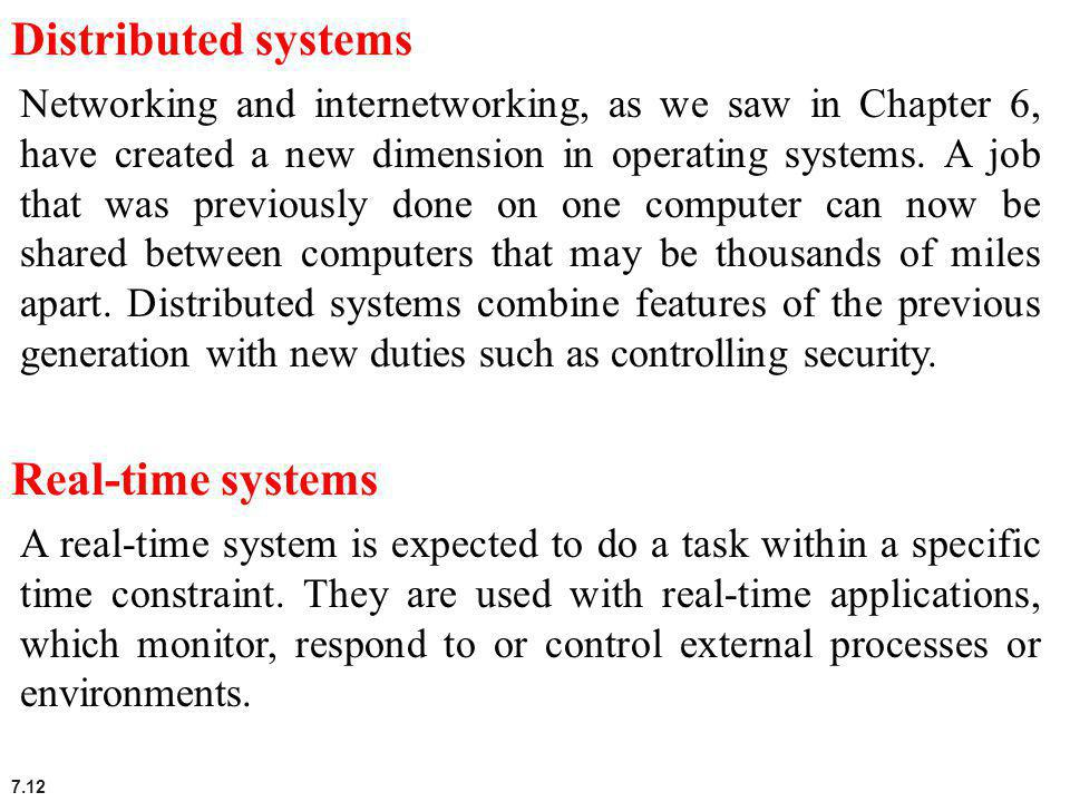 Distributed systems Real-time systems