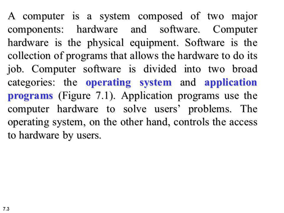 A computer is a system composed of two major components: hardware and software.