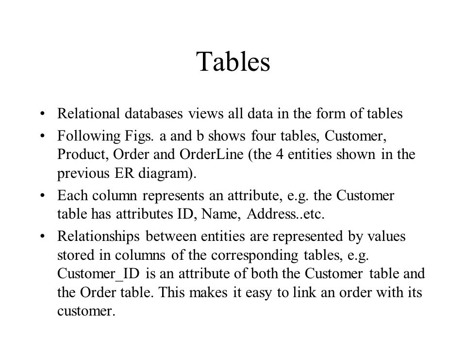 Tables Relational databases views all data in the form of tables
