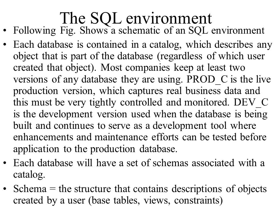 The SQL environment Following Fig. Shows a schematic of an SQL environment.