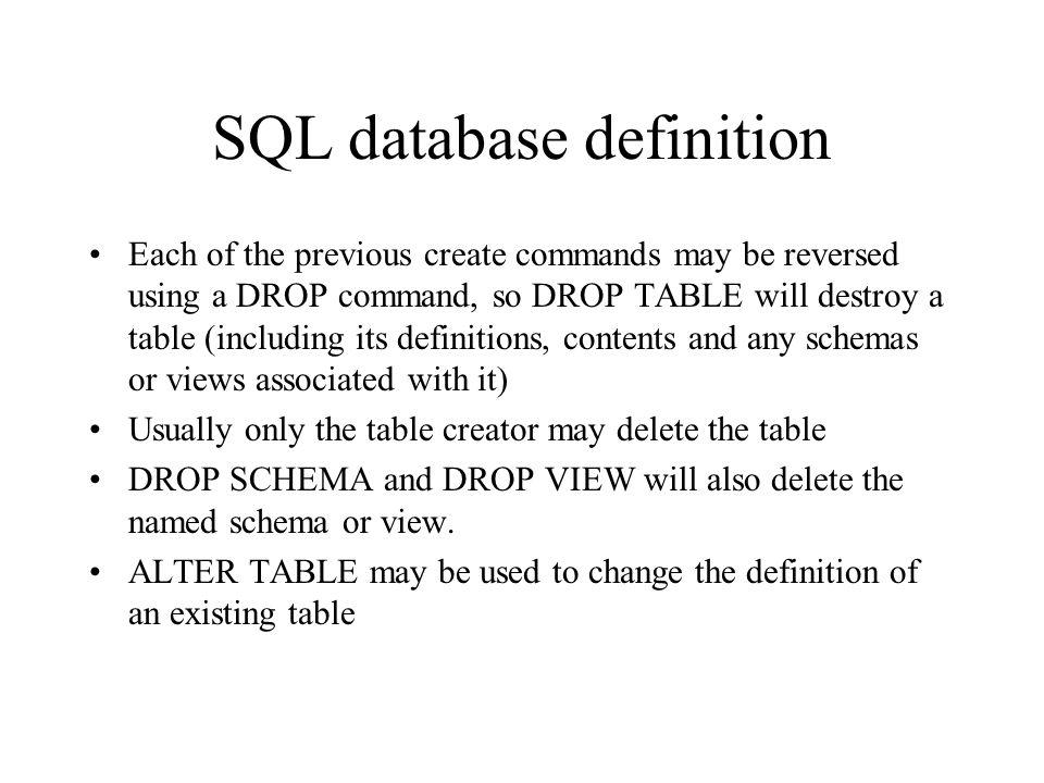 SQL database definition