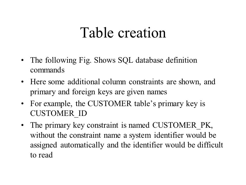 Table creation The following Fig. Shows SQL database definition commands.