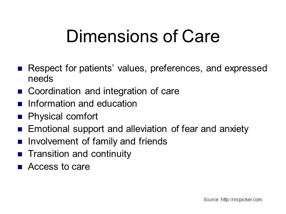 Dimensions of Care Respect for patients' values, preferences, and expressed needs. Coordination and integration of care.