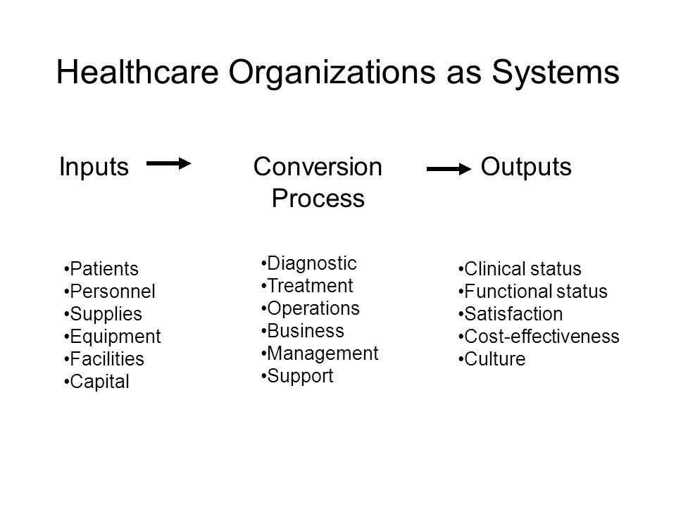 Healthcare Organizations as Systems