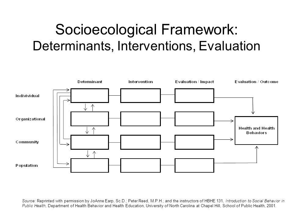Socioecological Framework: Determinants, Interventions, Evaluation