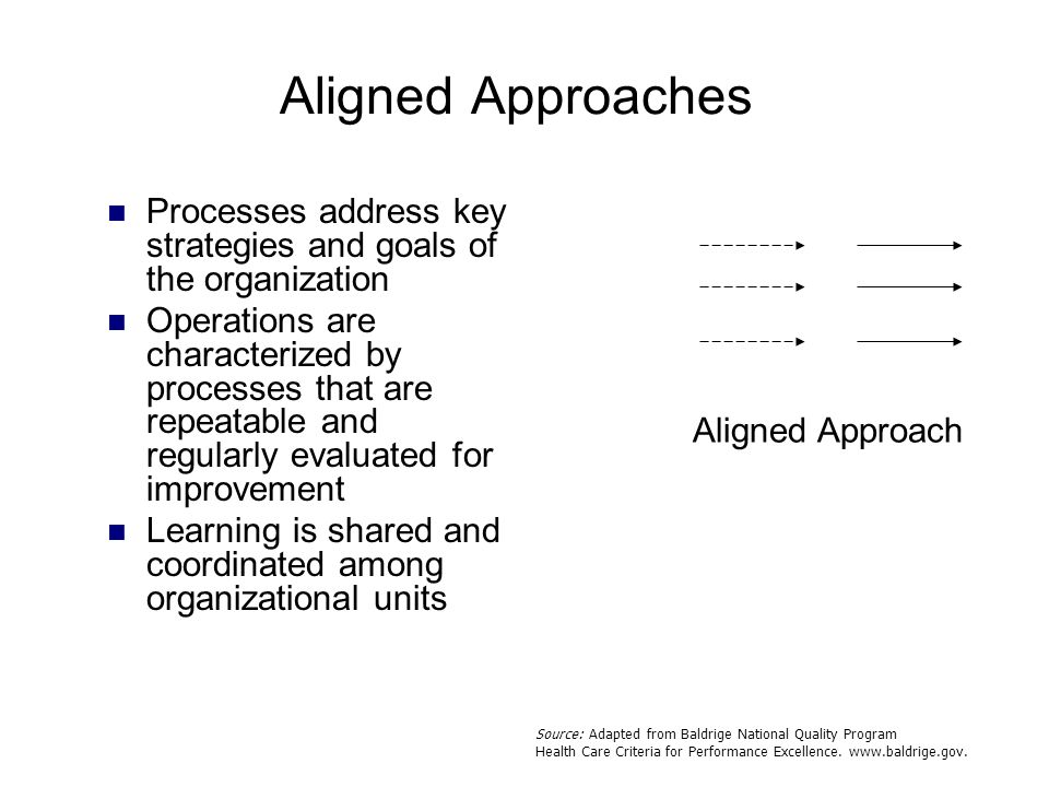 Aligned Approaches Processes address key strategies and goals of the organization.
