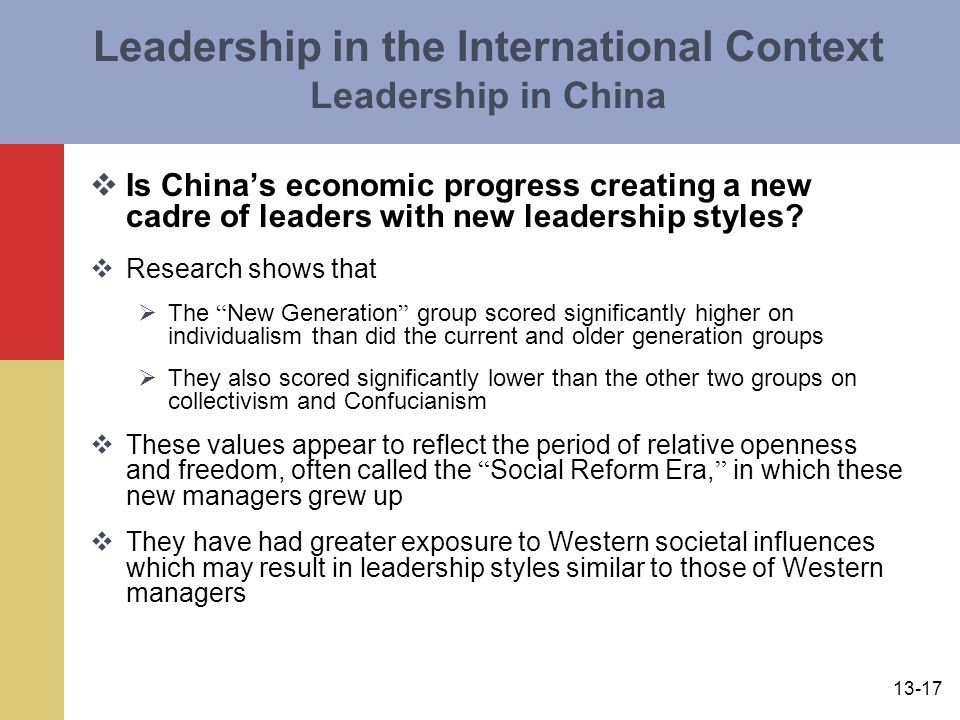 Leadership in the International Context Leadership in China