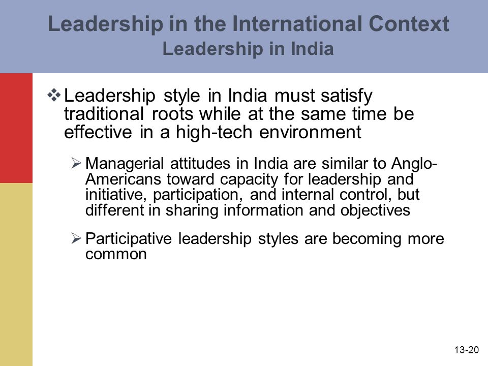 Leadership in the International Context Leadership in India