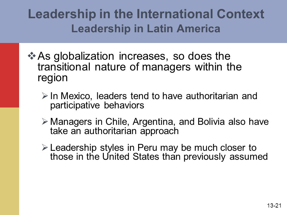 Leadership in the International Context Leadership in Latin America