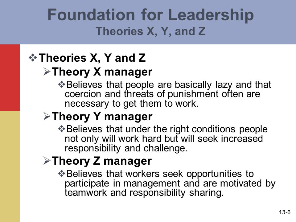 Foundation for Leadership Theories X, Y, and Z