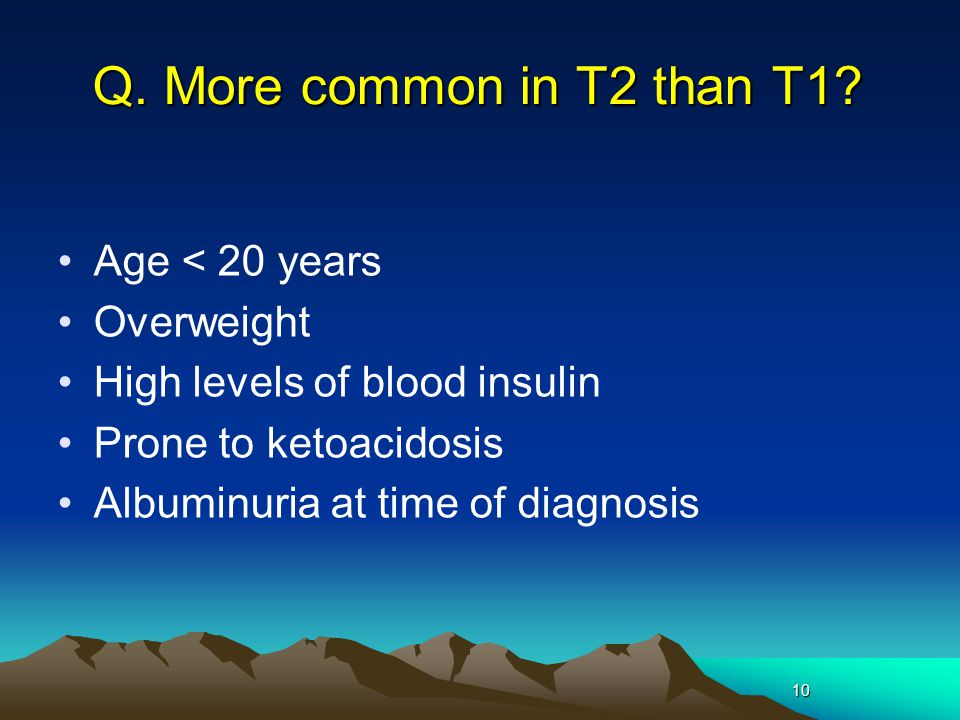 Q. More common in T2 than T1 Age < 20 years Overweight