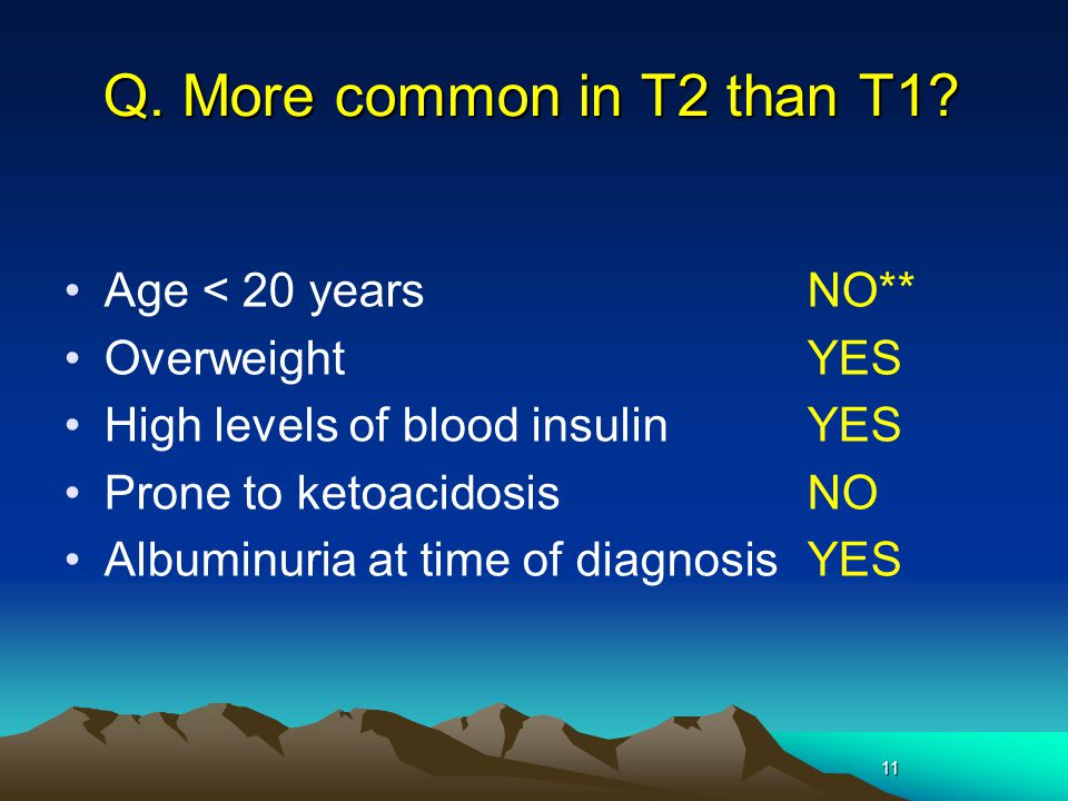 Q. More common in T2 than T1 Age < 20 years NO** Overweight YES