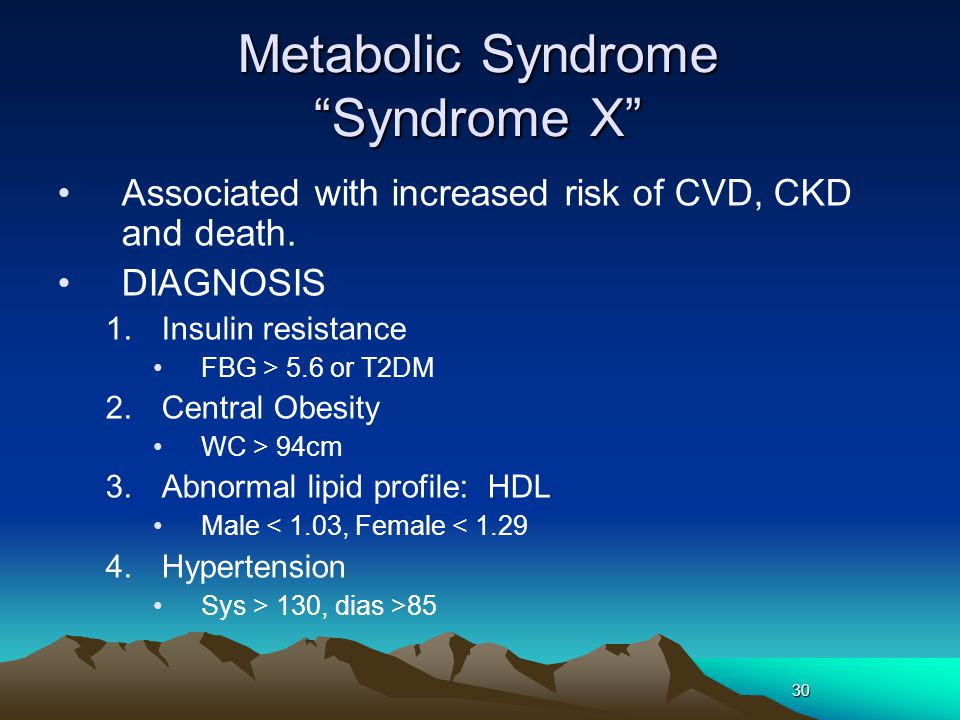 Metabolic Syndrome Syndrome X